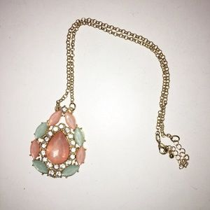 Pink and Teal Jewel Pendant Necklace